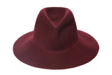 Wide Brim Pinch Hat in Bordeaux Wool