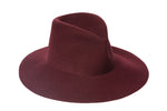 Wide Brim Pinch Hat in Burgundy Wool