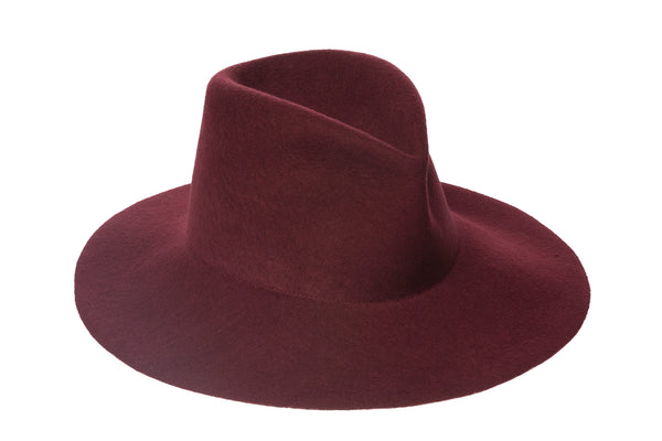 Wide Brim Pinch Hat in Burgundy Wool - CLYDE