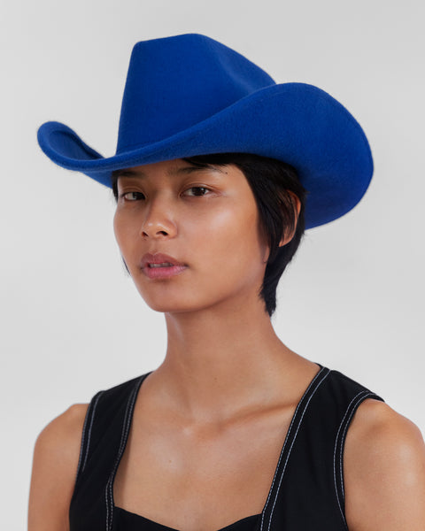 Cowboy Hat in Electric Blue Wool - CLYDE