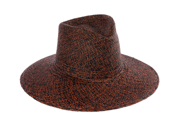 Pinch Panama Hat in Rust and Black Mix - CLYDE