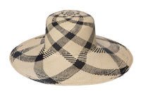 Wide Brim Flat Top Hat in Plaid Panama - CLYDE