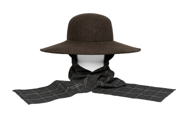 Pinch Panama Hat in Rust and Black Mix w. Neck Shade - CLYDE