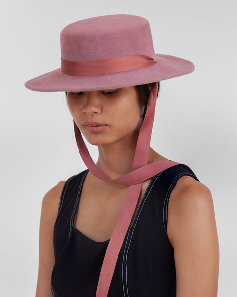 Pearl Hat in Smoke Rose Velour - CLYDE