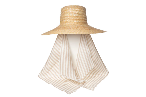 Wide Brim Flat Top Hat in Natural Straw w. Tan and White Stripe Neck Scarf - CLYDE