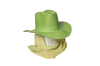 Cowboy Hat in Grass Panama Straw w. Linen Neck Scarf - CLYDE