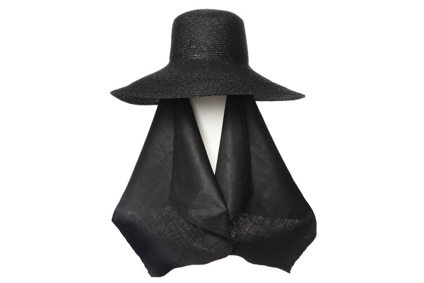 Wide Brim Flat Top Hat in Black Straw w. Neck Scarf - CLYDE