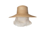 Wide Brim Flat Top Hat in Natural Straw w. Cream Neck Scarf
