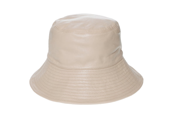 Ebi Bucket Hat in Bone Lambskin - CLYDE