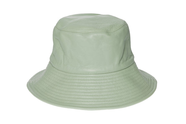 Ebi Bucket Hat in Laurel Green Lambskin - CLYDE