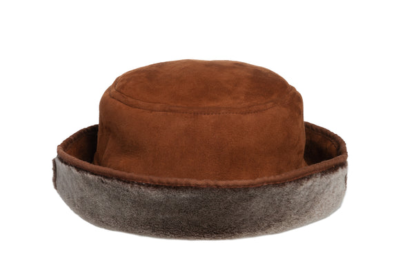 Shearling Bucket Hat in Rust Grey Tip - CLYDE