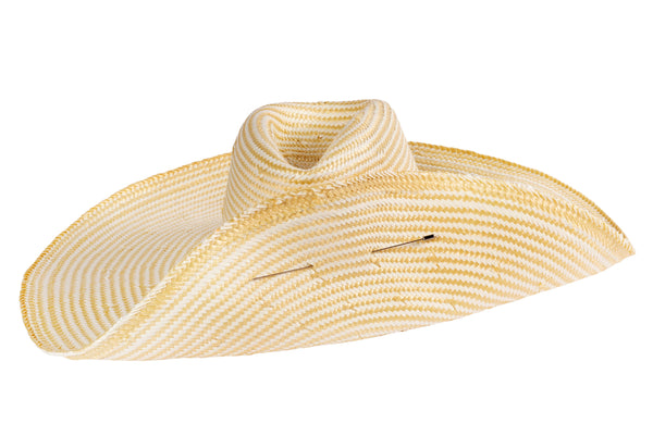 Wide Brim Pinch Hat w. Pin in Natural / White Blend