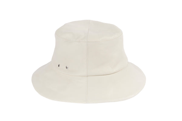 Lambskin Bucket Hat in Off White