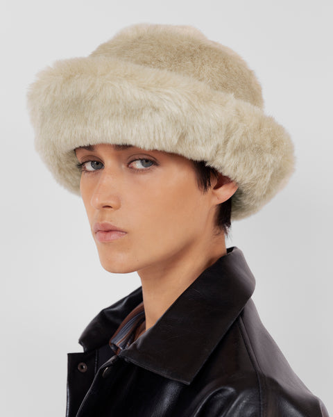 Fur Bucket Hat in Ecru - CLYDE