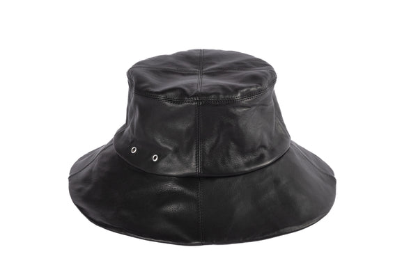 Lambskin Bucket Hat in Black