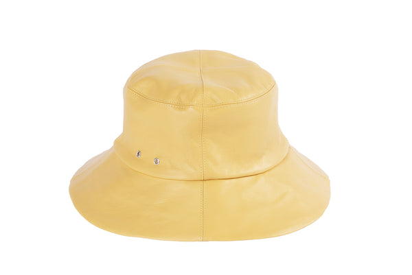 Lambskin Bucket Hat in Pale Yellow
