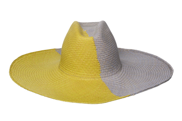 2 Tone Cowboy Hat in Citron / Sky Blue Panama Straw - CLYDE
