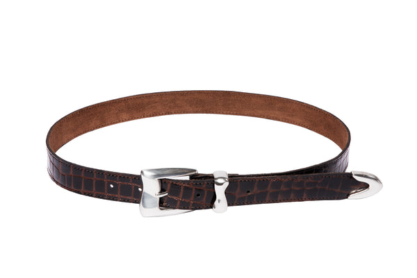 Wave Belt in Espresso Embossed Croc - CLYDE