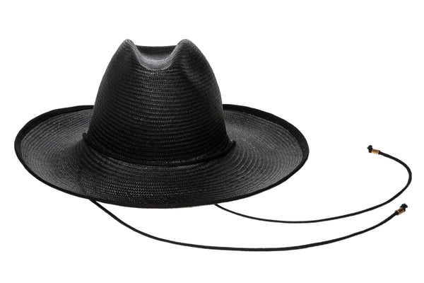Western Hat w. Black Trim in Black Toyo Straw - CLYDE