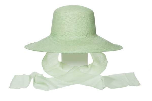 Pearl Hat w. Neck Scarf in Honeydew - CLYDE
