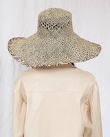 Wide Brim Flat Top Hat in Grey and Natural Raffia - CLYDE