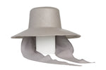 Medium Brim Flat Top Hat in Graphite w. Neck Shade - CLYDE