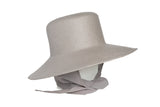 Medium Brim Flat Top Hat in Graphite w. Neckshade - CLYDE