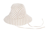 Fisherman Hat in Beige and White Stripe