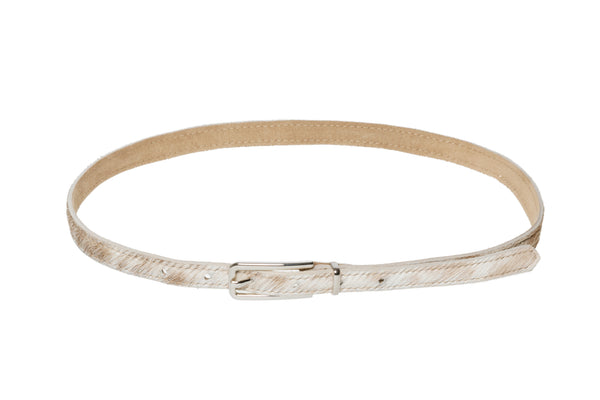 Lea Belt in Beige Spotted Ponyhair - CLYDE