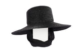 Medium Brim Flat Top Hat in Black Straw w. Neckshade - CLYDE