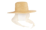 Medium Brim Flat Top Hat in Natural Straw w. Neckshade - CLYDE
