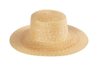 Medium Brim Flat Top Hat in Natural Straw - CLYDE