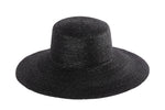Medium Brim Flat Top Hat in Black Straw - CLYDE