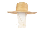 Wide Brim Flat Top Hat in Natural Straw w. Neck Shade - CLYDE