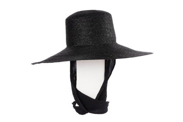 Wide Brim Flat Top in Black Straw w. Neck Shade - CLYDE