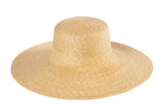 Wide Brim Flat Top Hat in Natural Straw - CLYDE