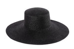 Wide Brim Flat Top in Black Straw - CLYDE