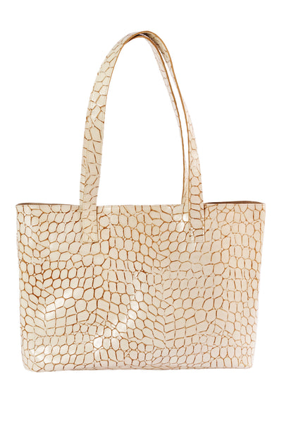 CLYDE Mirage Tote in Cream Croc