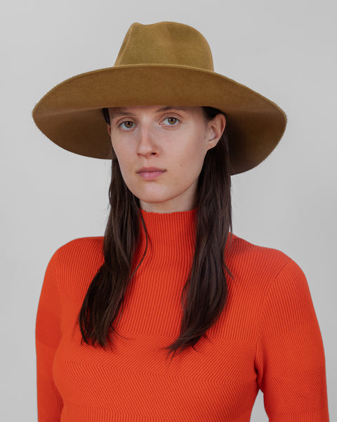 Wide Brim Pinch Hat in Burnt Gold Angora - CLYDE