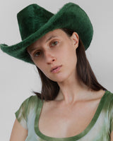 Cowboy Hat in Emerald Long Hair Angora - CLYDE