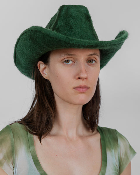 Cowboy Hat in Emerald Long Hair Angora