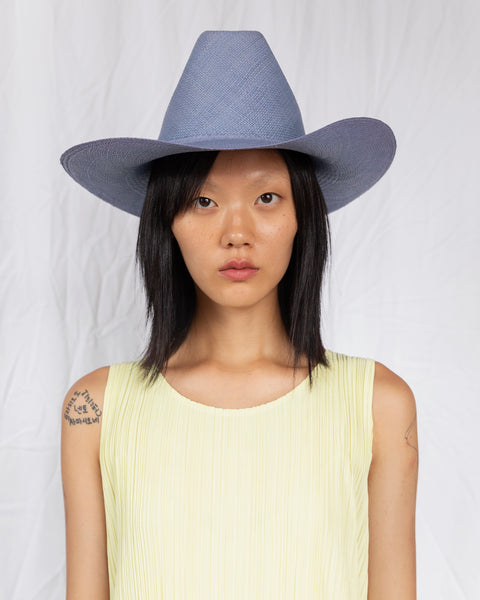 Cowboy Hat in Denim Blue Panama Straw - CLYDE