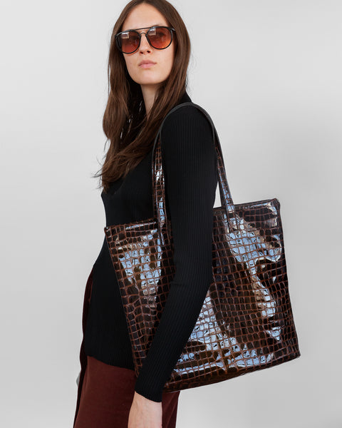 Lucid Tote in Espresso Embossed Croc - CLYDE