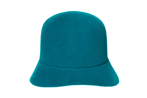 Batta Hat in Petrol Velour Angora - CLYDE