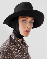 Pinch Hat in Black Wool w. Neck Shade - CLYDE