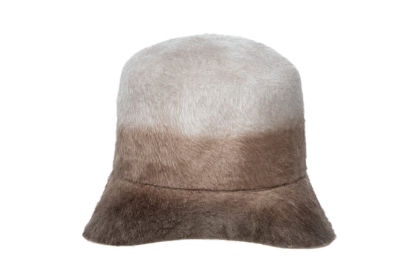 Batta Hat in Sand Ombre Long Hair Angora - CLYDE