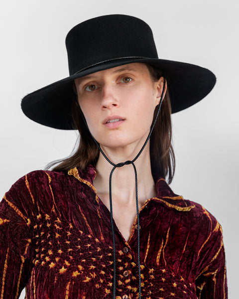 Gaucho Hat in Black Wool - CLYDE