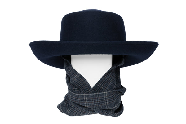 Gambler Hat in Navy Wool w. Tweed Neck Scarf - CLYDE