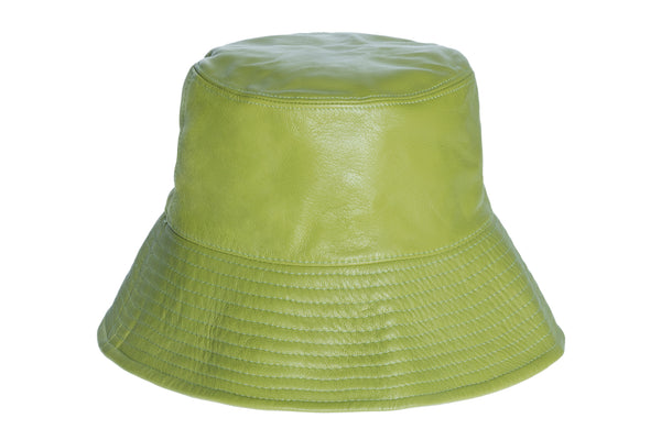 Ebi Bucket Hat in Sensi Green Lambskin - CLYDE