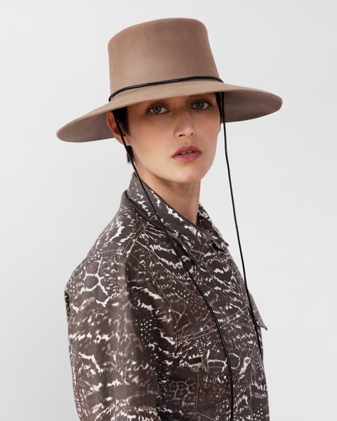Gaucho Hat in Fawn Brown Sueded Angora - CLYDE